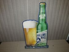"""Rolling Rock Beer Sign """"A unique state of Beer"""" tin advertising Latrobe Brewing"""
