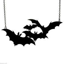 Large Jewelry Vampire Halloween Necklace Black Bat Pendant