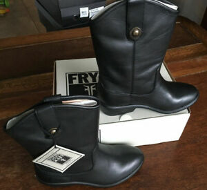 New Frye Melissa Button Black Mid Calf Boot Girl Youth US 12.5 Style 97450