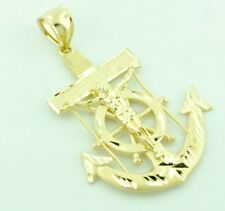 14k Solid Yellow Gold Anchor Cross Charm Crucifix  Pendant Jesus 4.10 grams