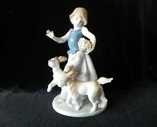 Lladro Out For A Romp Figurine #5761 Girl With Dogs Spain