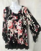 Alfani Tunic Top Sz XL black pink floral v neck bell sleeve ruffles oversized