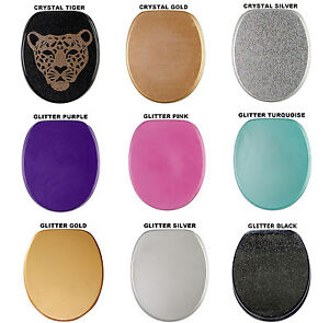 HIGH QUALITY GLITTER WOOD WC TOILET SEAT | STABLE HINGES | EASY TO MOUNT