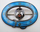 Antique STERLING Silver CMR Art Nouveau Guilloche Enamel SHRINERS Buckle Brooch