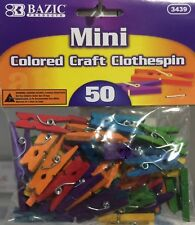 NEW - MINI CRAFT CLOTHES PEGS - MULTI COLOURED WOODEN - PACK OF 50