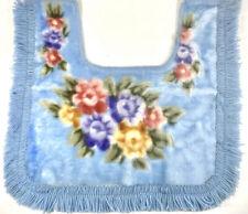 Light Blue Floral Vintage Velvet Fringe Toilet Pedestal Sink Rug Mat Shabby Chic