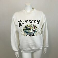Vintage Key West Florida Sweatshirt Womens M White Crew Neck Pullover Made USA