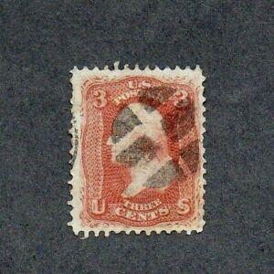 1867. 3c RED 'WASHINGTON' STAMP. WITH GRILL 9x13. SG No. 96. G.U.