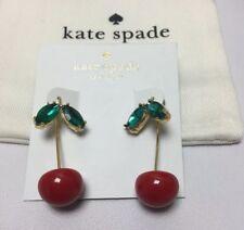 KATE SPADE 12K Gold Plated Ma Chérie Cherry Hanger Earrings w/ KS Dust Bag