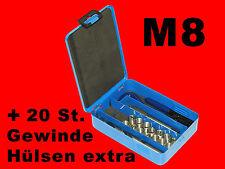 M8 HSS-G Profi Gewinde Reparatur Werkzeug Helicoil inkl. 45 Gewindehülsen B1954