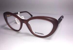 CHANEL Eyeglass Frames 3253 c. 1272 Dark Pink Brown Frosted Women Cateye Glasses