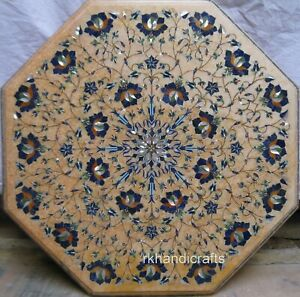 19 Inches Marble Bedside Table Top Lapis Lazuli Stone Marquetry Art Coffee Table