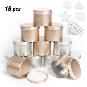 Candle Making Tins 16 pcs 100ml Empty Storage Jars with Screw Lids for DIY Gift
