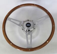 "Ranchero Bronco F100 F250 Retro Style 9 Hole Wood Steering Wheel 15"" Ford Cap"