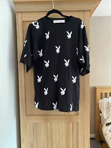 Missguided Playboy Size 10 Black T Shirt With Rabbits