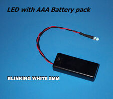 WHITE BLINKING 5mm LED WITH AAA BATTERY PACK & SWITCH/Halloween / fake car alarm