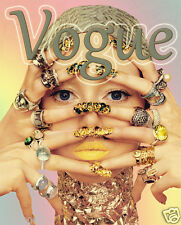 Vogue Poster/Woman With Rings/Vintage Vogue Magazine Cover Reproductionn17x22in