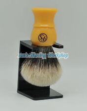 Deluxe Finest Badger Shaving Brush Butterscotch Handle Extra Density Free Stand