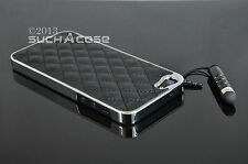 suchACase™ Black Genuine Leather Hard Case Cover iPhone 4 4S +Films +Stylus