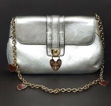 GUCCI Silver Chain Hearts Clutch Shoulder Bag