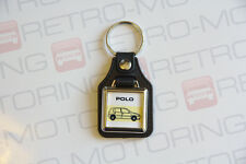 VW Polo 6n Keyring - Leatherette & Chrome Classic Retro Car Keytag