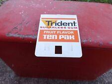 Vintage Trident Fruit Gum Metal Sign MINT NOS GAS OIL SODA DOOR PUSH COLA NR!