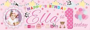 ***NEW*** PERSONALISED HAPPY 1ST BIRTHDAY BABY GIRL BANNER 6ft x 2ft SIZE