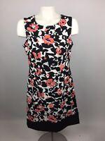 Ronni Nicole Women Sz 10 Career Sleeveless Shift Dress Black White Orange Floral