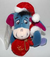 "Santa Eeyore Mini Bean Bag Plush 8"" Disney Store - NEW With Tags NWT"