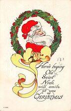Christmas~Santa~Saint Nick Portrait in Holly Berry Wreath~Yellow Ribbon~C-203
