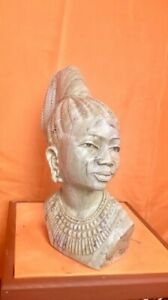 """Butter jade female Shona stone Bust by E. Katombera, """"Bride to Be"""""""