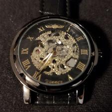 826099791475 Reloj Pulsera ganador De Moda Para hombres De Esqueleto Negro Oro Con Cuero  Banda  H001M