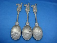 """Three 7.5""""Antique German Embossed Pewter Feinzinn Spoons Engraved & Collectible"""
