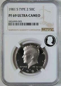 1981 S Type 2 Proof Kennedy Half Dollar NGC PF69 UCAM Exceptional Cameo Contrast