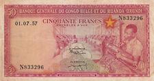 50 FRANCS FINE BANKNOTE FROM BELGIAN CONGO RWANDA URUNDI 1957 PICK-32  RARE