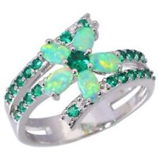 "GORGEOUS GREEN FIRE OPAL /EMERALD RING UK Size ""N"" US 7"
