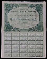 Société des Viviers de Saint-Goustan  Action de 500 francs 389/1000  De 1904