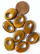 5 Pairs Vintage Genuine Tiger Eye Small Stone Hoops  -  20x15mm - Vintage Stock