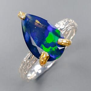 Fine Art Jewelry  Black Opal Ring Silver 925 Sterling  Size 7.75 /R151725
