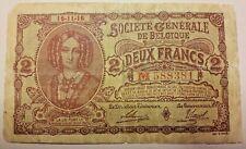 2 FRANCS SOCIETE GENERALE! 1916 Belgique Belgïe 2 Frank 1916 #A#