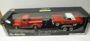 MOTORMAX 1:24 Scale American Classics Red Ford Pick-Up w Thunderbird /Trailer