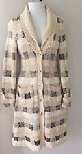 Anthropologie Far-Away-From-Close Long Cardigan Sweater Coat Beige Brown Size S