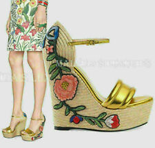GUCCI SHOES FLORAL EMBROIDERED ESPADRILLE GOLD LEATHER WEDGE PLATFORM $810 38.5