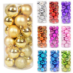 48PCS 40mm 60mm 80mm Christmas Tree Baubles Plain Glitter Xmas Ornaments Ball UK