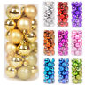 24PCS 30mm 40mm 60mm Christmas Tree Baubles Plain Glitter Xmas Ornaments Ball