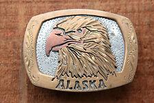 Vintage Hand Made Engraved Alaska Eagle Western Belt Buckle