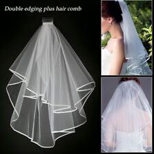 Ivory Bridal Wedding Veil 1 Tier Elbow Length Lace Trim with Comb Canada