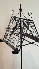 French antique tall LECTERN music book recipe menu stand wrought iron black new