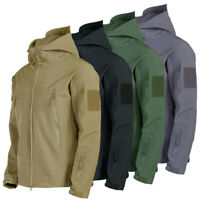 Tactical Sharkskin SoftShell Hooded Jacket Men's Military Fleece Coat Waterproof
