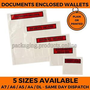 DOCUMENTS ENCLOSED Wallets Envelopes Self Adhesive - A7 A6 A5 - Plain or Printed